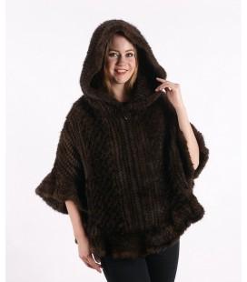 0328 Куртка-накидка из вязаной норки с капюшоном