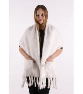 0712 Палантин из вязаной норки 40 см белый с карманами