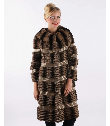 0402 Пальто из стриженого кролика поперечное
