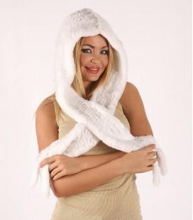 Капор из вязаной норки