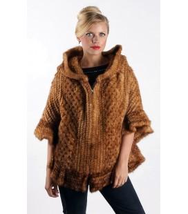 0330 Куртка-накидка из вязаной норки с капюшоном
