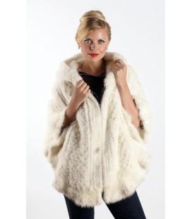 0331 Куртка-накидка из вязаной норки с капюшоном